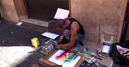 這名街頭畫家在羅馬做了一件我從來沒有看過有人做過的事情。
