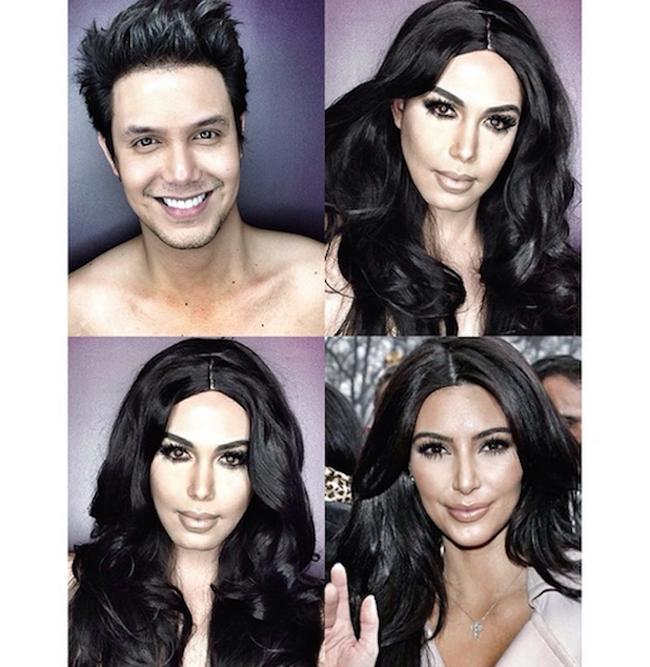 這個帥氣的男生用超群的化妝技術把自己變成一些知名女星。梅根福克斯的好像!