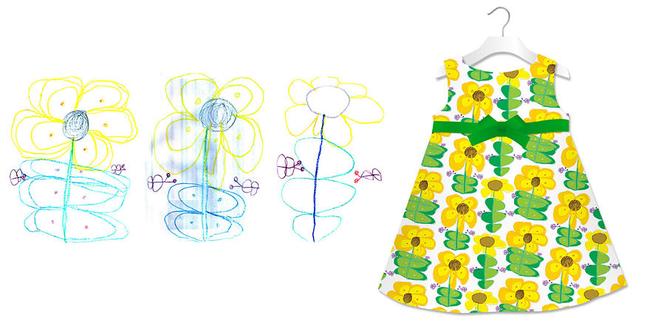這些向日葵的圖案放到小洋裝上面時不是真的很美?