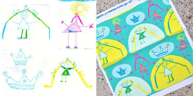 這是Amelia的公主塗鴉系列被轉換成精品設計圖案。