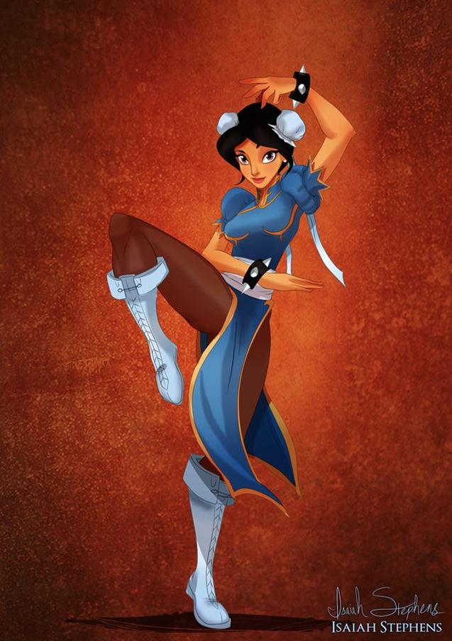 《阿拉丁》茉莉公主 扮演《快打旋風》的春麗 (Jasmine from Aladdin as Chun-Li from Street Fighter)