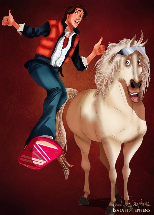 《魔髮奇緣》的費林·雷德和麥西瑪斯 飾演 《回到未來》的馬蒂·麥佛萊和布朗博士 (Flynn Ryder and Maximus (from Tangled) as Marty McFly and Doc Brown)