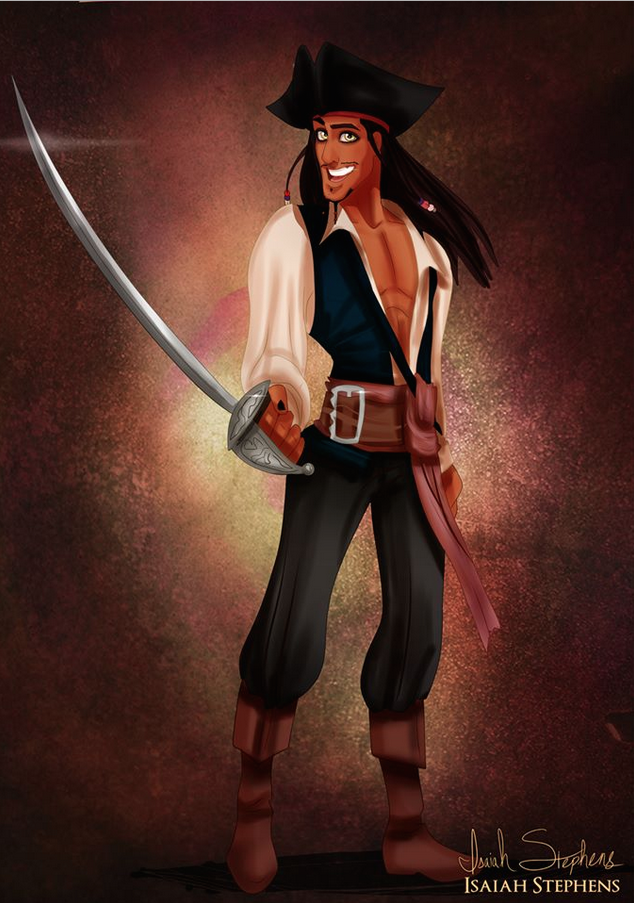 《公主與青蛙》萊文王子 扮演《神鬼奇航》的傑克船長 (Prince Naveen (from The Princess and the Frog) as Captain Jack Sparrow)