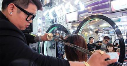 這位理髮師的剪髮工具可能會讓你倒退兩步...但那就是為什麼他的生意這麼好!