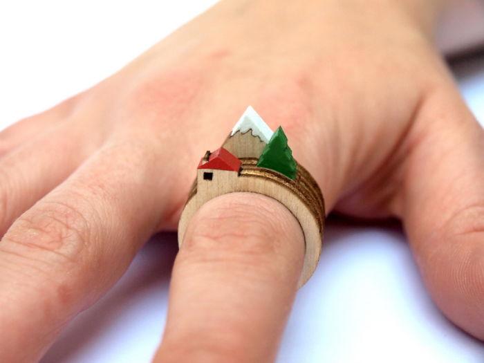 #21 小木屋風景戒指。