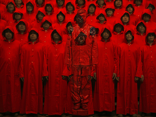 Liu bolin hitc red no.1 photograph 2012 medium