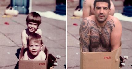 這對兄弟為了父母親的結婚紀念禮物,爆笑重拍他們兒童時的照片。