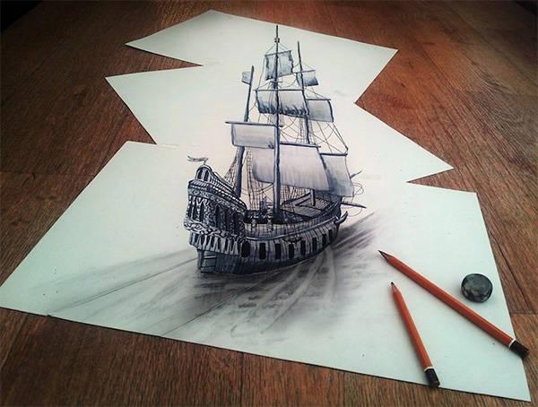 紙上的船。