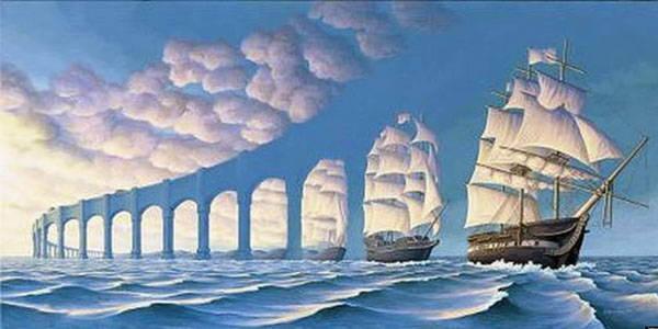 帆船與拱橋。