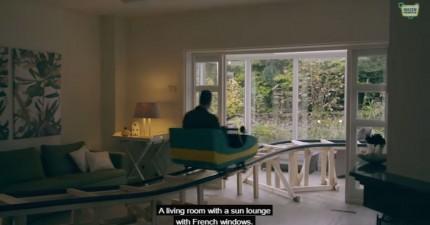 你如果要買這間房子的話,一定要先坐裡面的雲霄飛車!
