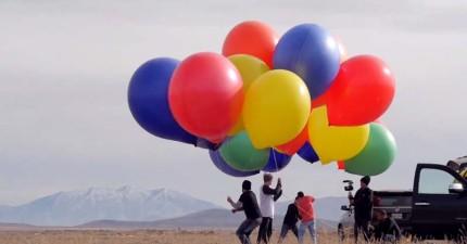 這個人太喜歡《天外奇蹟》了,因此他跑去買了一大堆氣球然後...