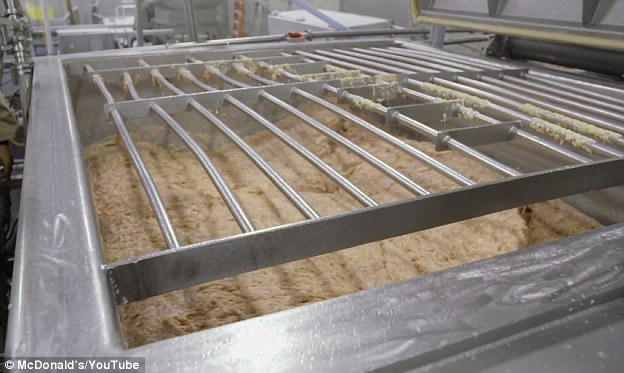 McDonald's McNuggets meat pictured in a mixer as the other ingredients like flavor enhancers and preservatives are added