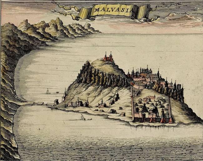中世紀的 Monemvasia地圖。 (當時叫 Malvasia)