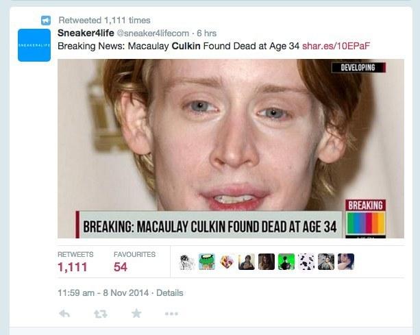 Macaulay Culkin: not dead.