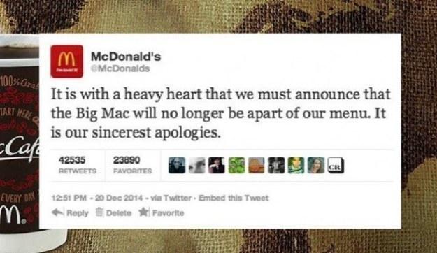 21. 大麥克並沒有被踢出麥當勞菜單。