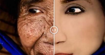 這名100歲的老太太在幾分鐘內被倒帶成18歲的小美女。