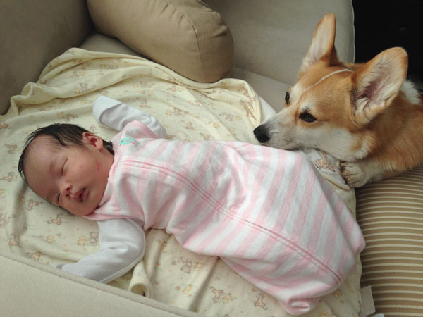 He waits for her to wake up. :)