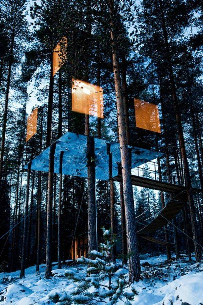 <p>At night, its lights can be seen hovering in the trees. While it's barely visible to us, a special film was applied to the glass so that it would be obvious to birds, so you don't have to worry about them flying into it. </p>