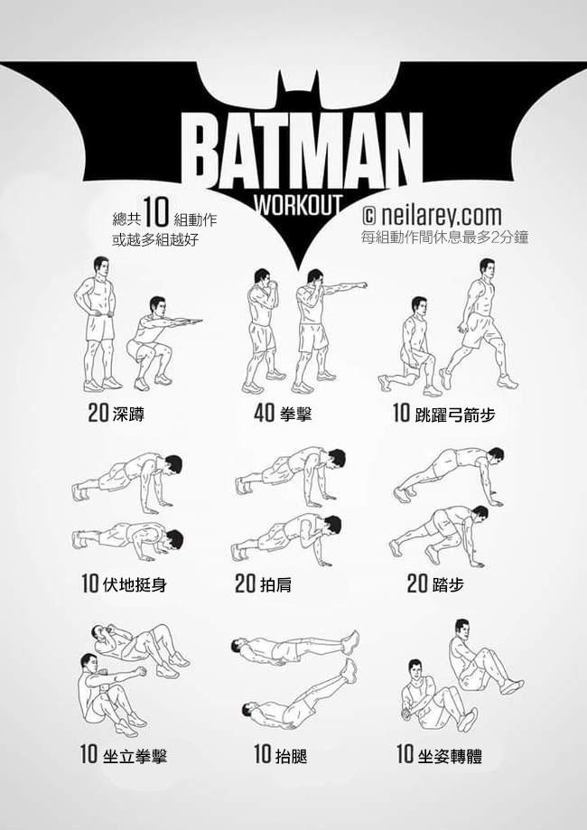 只有最有正義感的人才能駕馭的「蝙蝠俠健身套餐」,現在你也可以擁有蝙蝠俠般的爆猛體態!