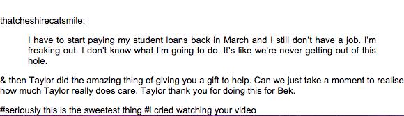 這名歌迷在網路上PO說還不完學貸,結果幾天後收到了一個來自小天后泰勒絲的昂貴大禮。