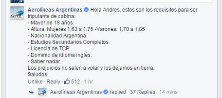 """Argentina Airlines' Facebook page then actually responded, writing that """"prejudice doesn't fly, we leave it on the ground."""""""