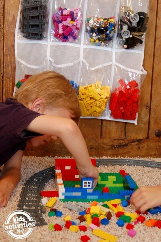Make storing and organizing Lego bricks a snap using a shoe storage bag.