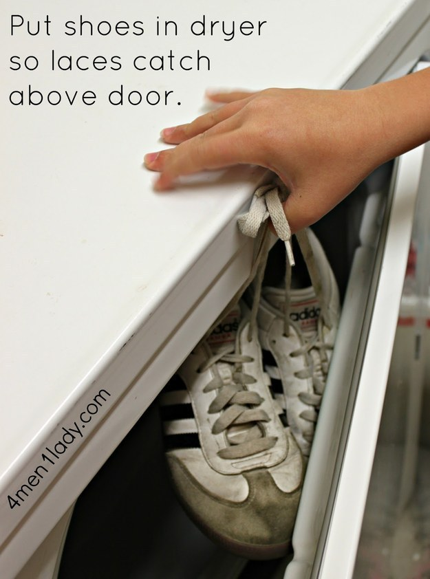 To prevent the dreaded sneaker bang, wedge knotted laces in the dryer door.