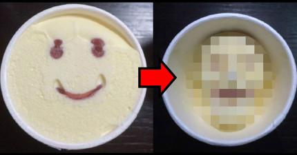 日本公司推出了這卡哇伊的笑臉冰淇淋,沒想到融化之後把小孩都給嚇哭了...