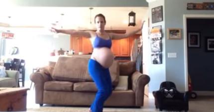 有人跟這名懷孕媽媽說跳麥克傑克遜的Thriller可以讓寶寶早點出生。