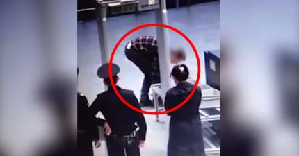 當他怎麼樣都沒辦法通過機場安檢門的時候,就只剩下一個辦法了...你知道的。