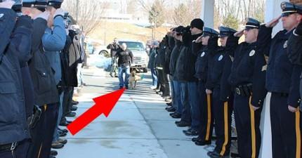 全部警員哀痛地列隊在醫院外頭,向這位盡忠職守的「警員」至上最後的敬意。