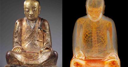經過斷層掃描發現,這尊千年古佛像裡竟然是進入高超靜坐境界的高僧!?