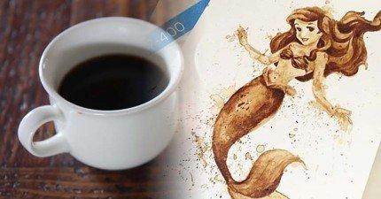在這名藝術家不小心將咖啡打翻後,就開啟了她一系列咖啡創作之路!