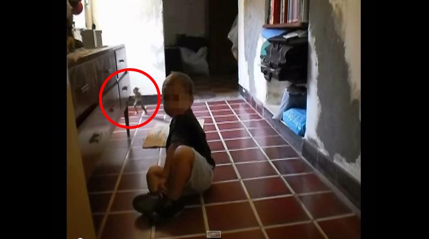 小男生一直說有人在陪他玩,但他們還以為他在幻想!母親拍攝時在第九秒發現到原來他不在幻想!