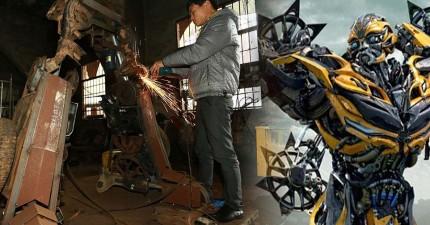 這對中國農民父子將一堆廢鐵變成了500萬天價的真實尺寸變形金剛,完整程度讓我淚流滿面啊!