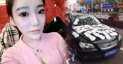 這位正妹以為男友晚歸是出軌,一氣之下用「女人的憤怒」轟炸男友的車。但結果是...