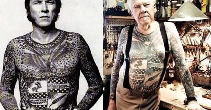 人們老了身上的刺青會變怎樣?這24張照片證明老了反而更酷!