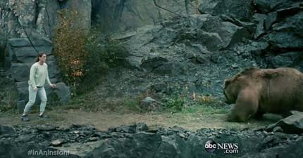 這對父女在登山時意外碰上巨大灰熊,為了要保護女兒他的頭皮被撕毀而眼珠也被嚴重抓傷。