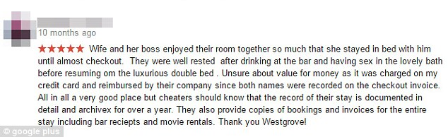 在老婆跟老闆外遇後,這位丈夫給飯店留下最酸最爆笑的5星評價。