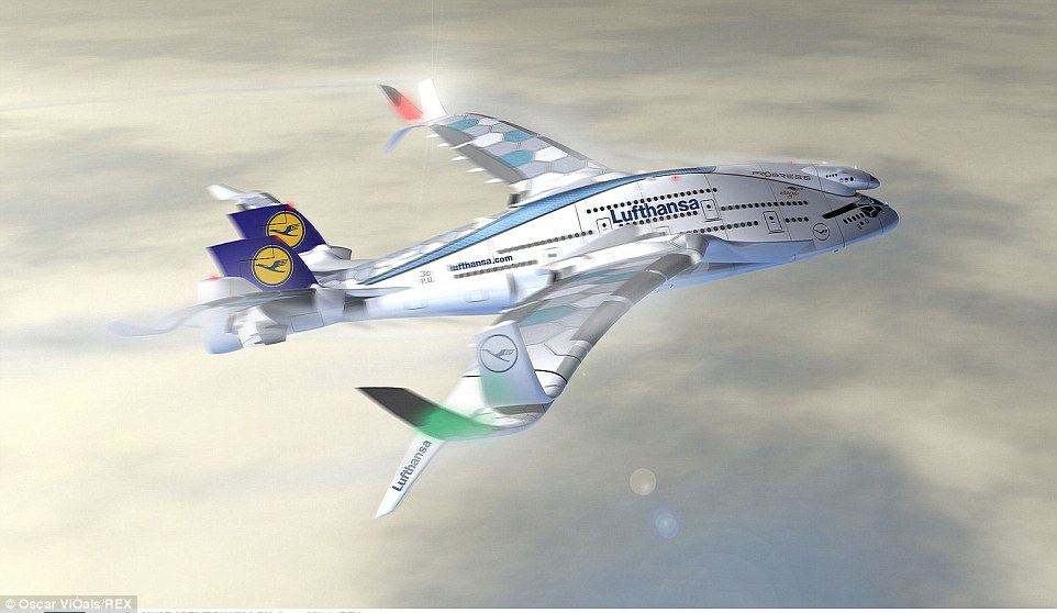 The AWWA-QG Progress Eagle has solar panels on its wings and carries air turbines to allow it to generate its own energy while in flight
