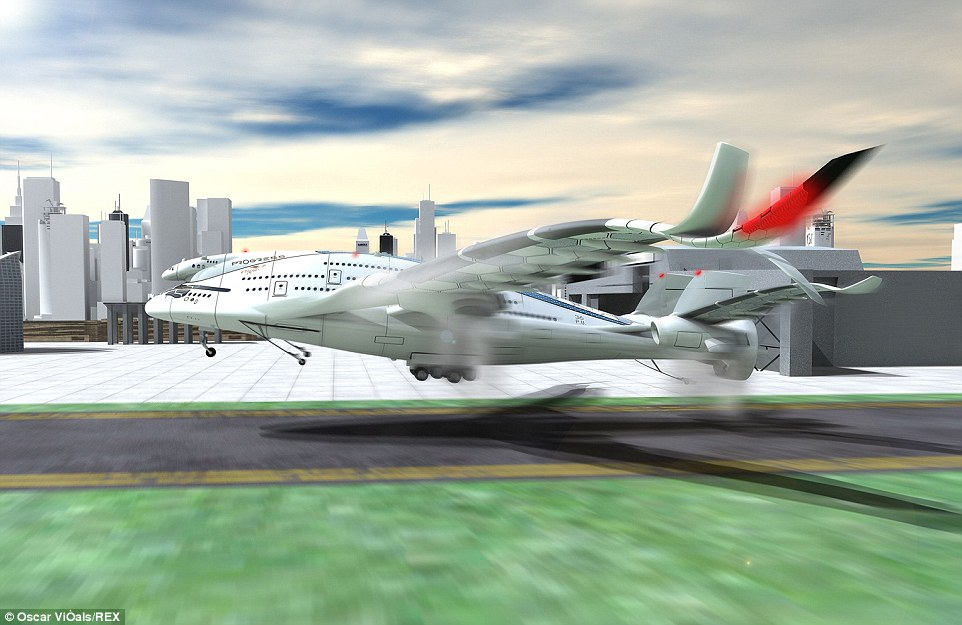 The design features a single rotating engine at the back of the aircraft which would combine with other engines under the wings to provide thrust