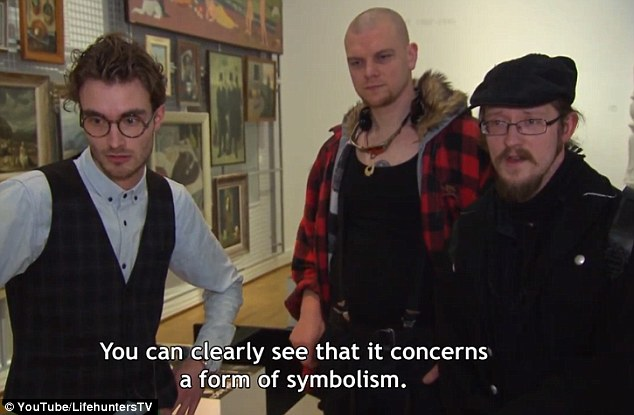 A man in a flatcap, beard and glasses, claims he can 'clearly see that it concerns a form of symbolism'