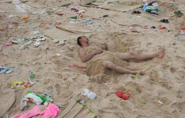 Grabbing a quick beach nap.