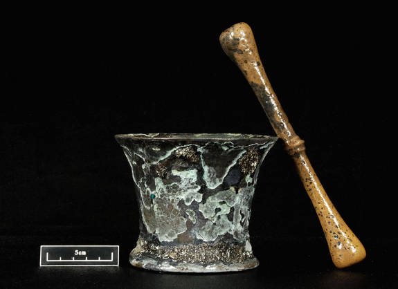 A mortar and pestle: This was used to create medicines on board. (Or possibly mojitos.)