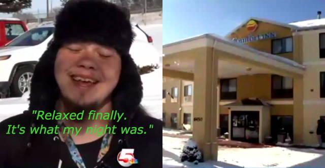 這位遊民在冰天雪地中熱心幫忙陌生人推車,最後讓他得到改變一生的好報。