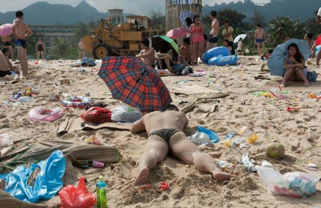 Still, most of these beach goers seem to be making the best of it.