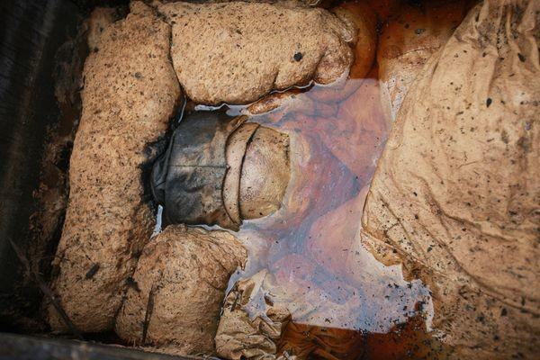 這座墓穴共有三層,當考古學家們挖到了最後一層時,發現了浸泡在水中的頭骨。
