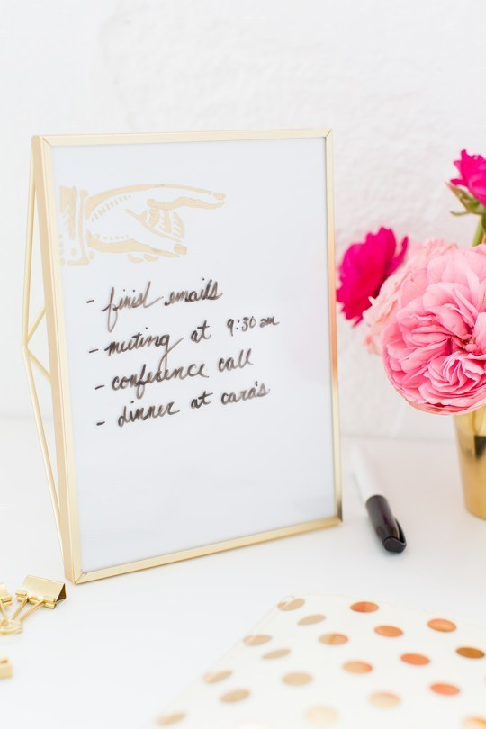 Forget your forgetful mornings with a DIY vanity whiteboard.