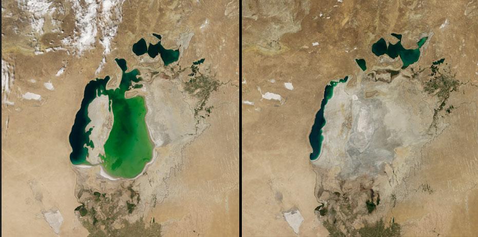 4. 中亞的鹹海 (Aral Sea),即便當地積極想要拯救鹹海,像是在2005年蓋了一座水壩,但依然不敵面積快速縮減的速度。