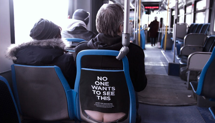 在芝加哥的公車裡都會看到這些露屁屁的廣告。知道原因後就會讓你知道要快點去看醫生。
